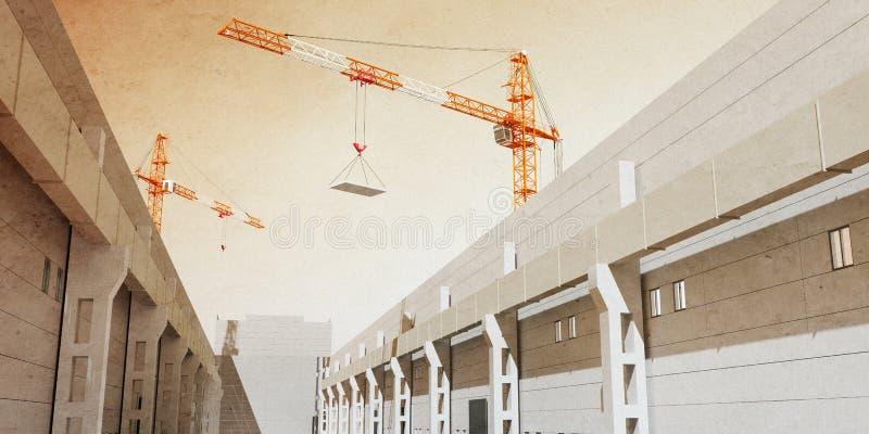 Illustration 3d von Baukränen errichten industrielle Halle lizenzfreie abbildung