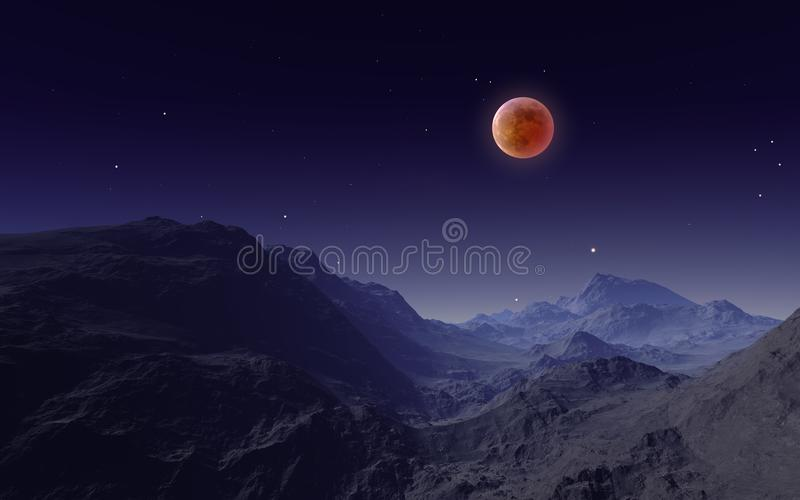 Illustration 3D von Gesamtmondfinsternis 2018 über den Bergen stock abbildung