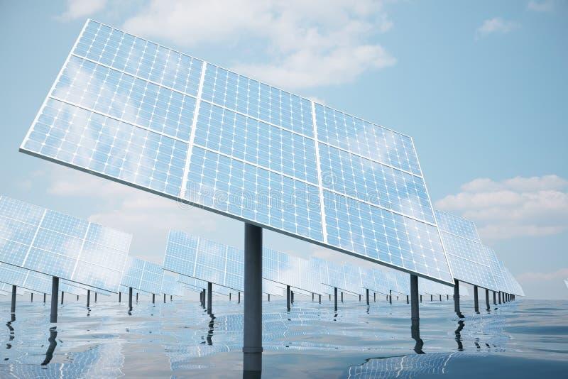 Illustration 3D von großen Sonnenkollektoren auf Meer, Ozean oder Fluss Reflexion der Wolken auf den Solarzellen lizenzfreie abbildung