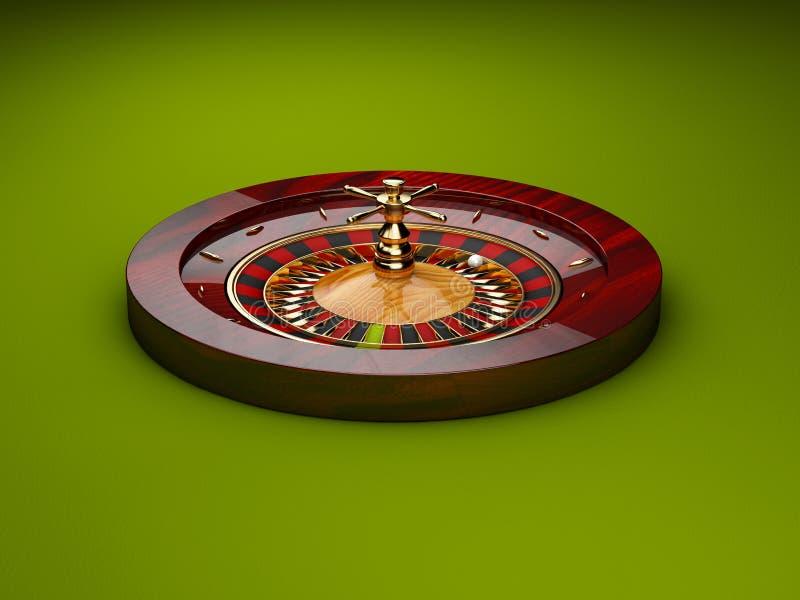 Illustration 3d von Kasinorouletten, grüner Hintergrund vektor abbildung