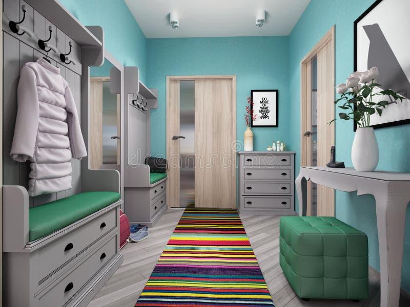 Illustration 3d von kleinen Wohnungen in den Pastellfarben lizenzfreie abbildung
