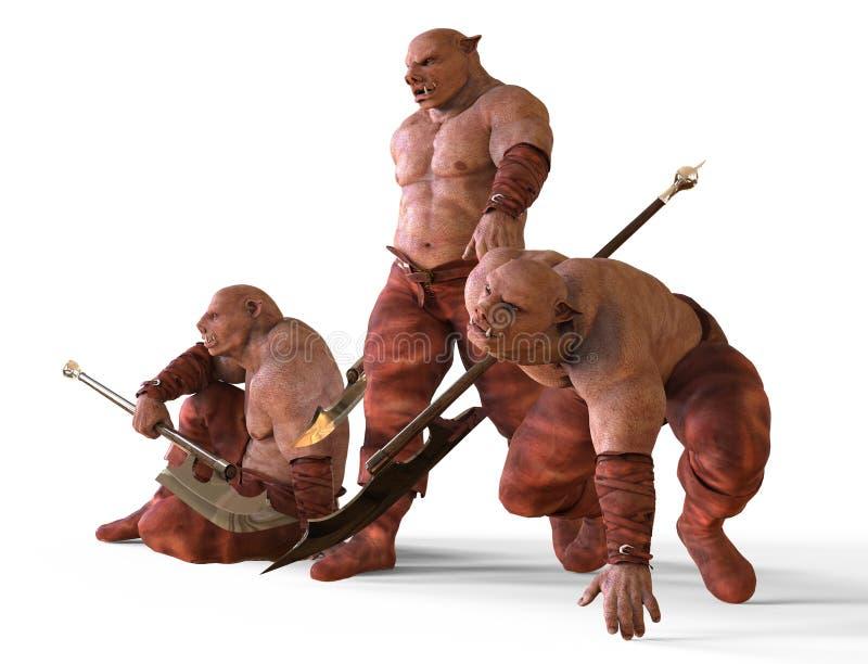 Illustration 3D von Mutant-Monster lokalisiert auf Weiß vektor abbildung