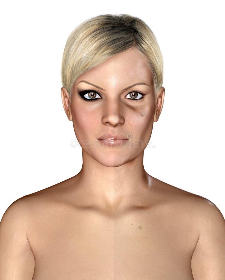 Illustration 3d von selben healthly und von schädigender Haut stock abbildung