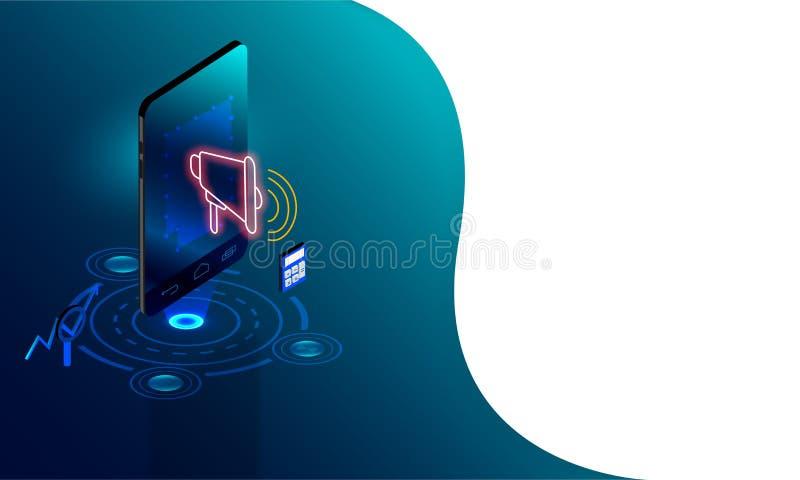 Illustration 3D von Smartphone mit Megaphon, Taschenrechner und Mag vektor abbildung