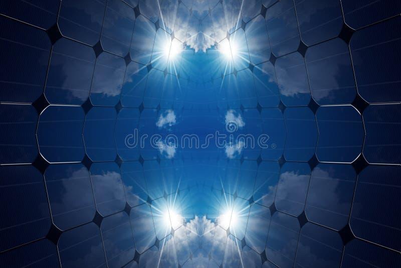 Illustration 3D von Sonnenkollektoren lizenzfreie abbildung