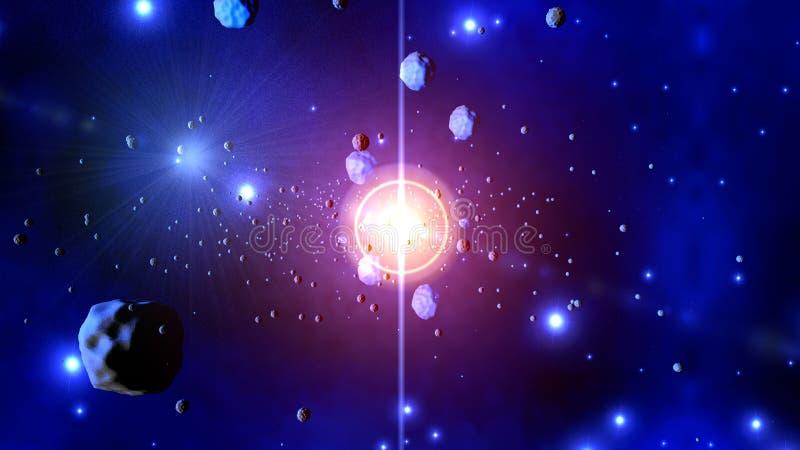 Illustration 3D von werfenden Asteroiden einer Sternexplosion lizenzfreie abbildung