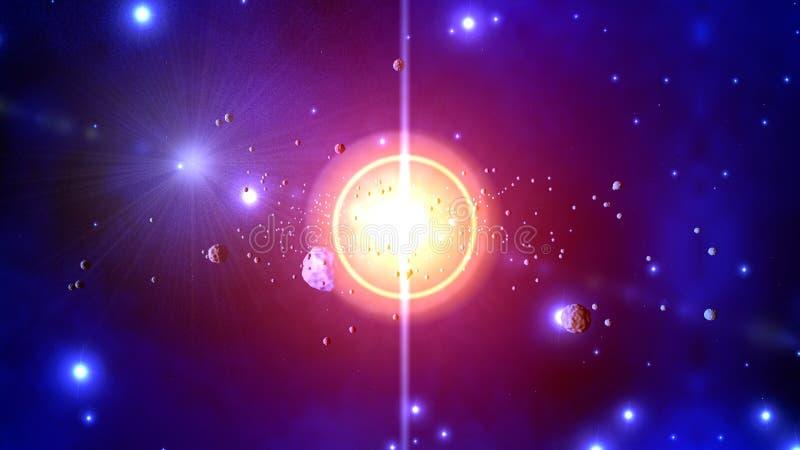 Illustration 3D von werfenden Asteroiden einer Sternexplosion stock abbildung