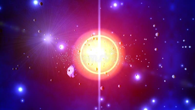 Illustration 3D von werfenden Asteroiden einer Sternexplosion vektor abbildung