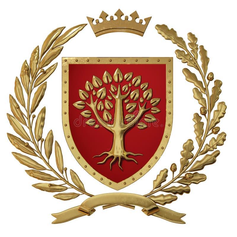 Illustration 3D Wappenkunde, rotes Wappen Goldener Ölzweig, Eichenniederlassung, Krone, Schild, Baum Isolat vektor abbildung