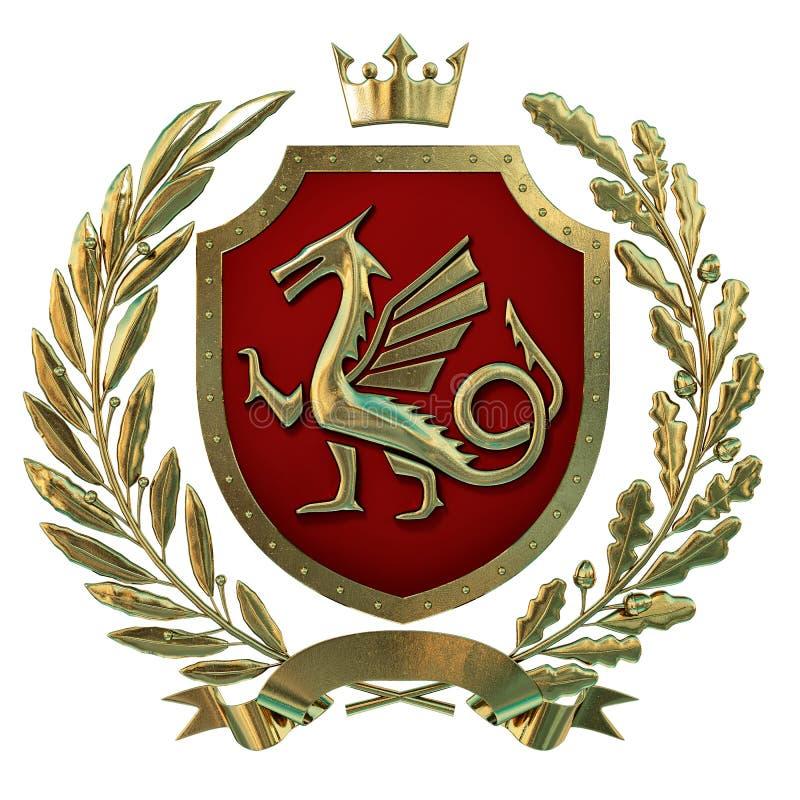 Illustration 3D Wappenkunde, rotes Wappen Goldener Ölzweig, Eichenniederlassung, Krone, Schild, Drache Isolat stock abbildung