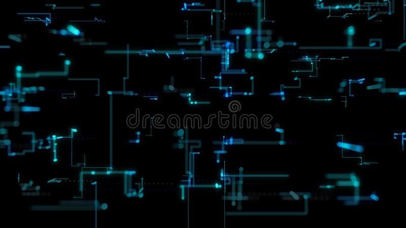 Illustration 3D, Wiedergabe 3D, abstrakter geometrischer Hintergrund, Blue Line- und Bokeh-Technologie, Diagramm der architektoni vektor abbildung