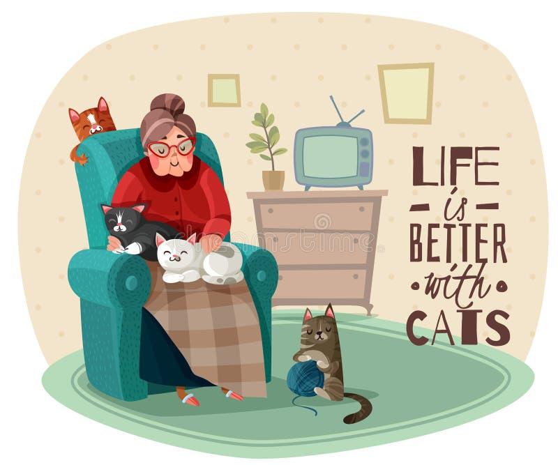Illustration Damen-In Armchair Cats vektor abbildung