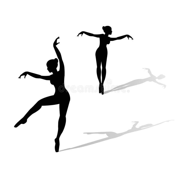 Illustration of dancers silhouettes. On white background stock illustration