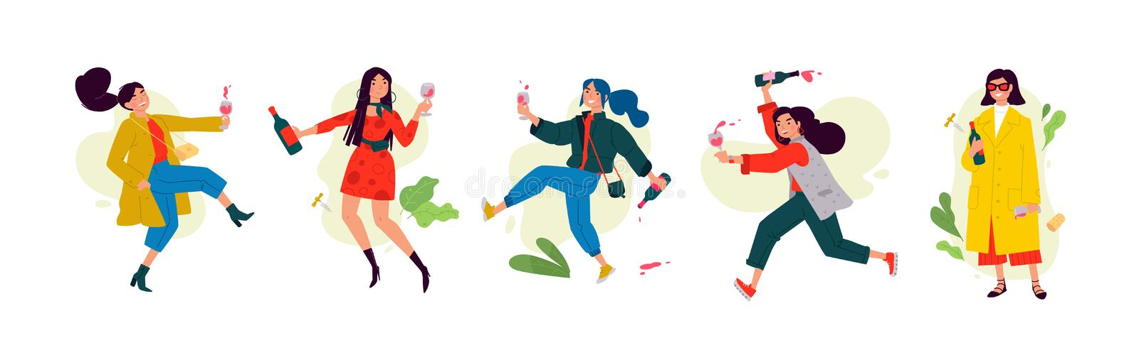 Illustration of dancing girls on Women`s Day. Vector. Women celebrate the holiday, have fun and relax. Party all night long March. 8th. Slightly drunken ladies vector illustration