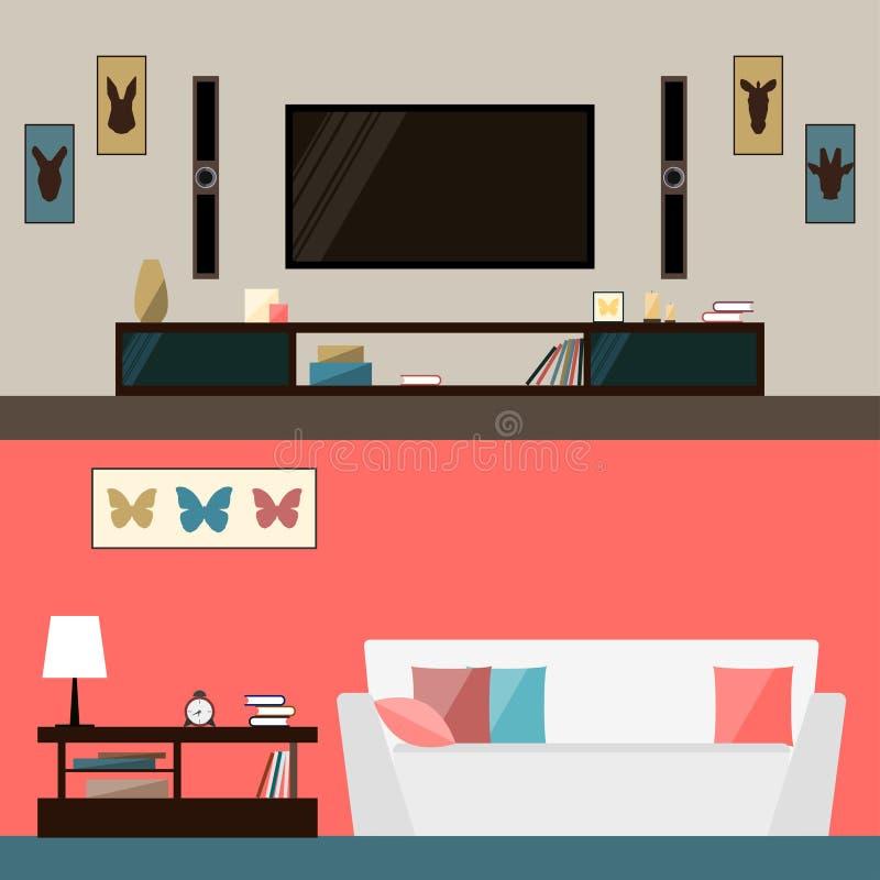 Illustration dans le style plat à la mode avec l'intérieur de pièce pour l'usage dans la conception pour pour la carte, invitatio illustration stock