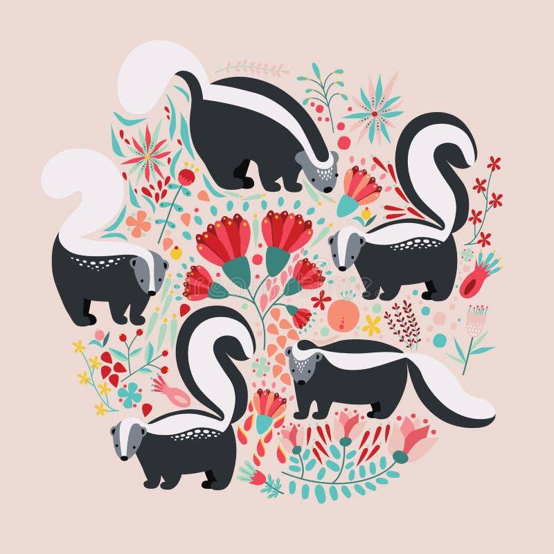 Illustration dans le style plat avec les éléments, les fleurs et les mouffettes floraux de bande dessinée Conception colorée mign illustration stock