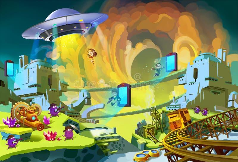 Illustration: Das Abenteuer im ausländischen Planeten Sciencefiction, UFO-, Jagen, Jungen-u. Mädchen-Helden, Monster, Portal lizenzfreie abbildung