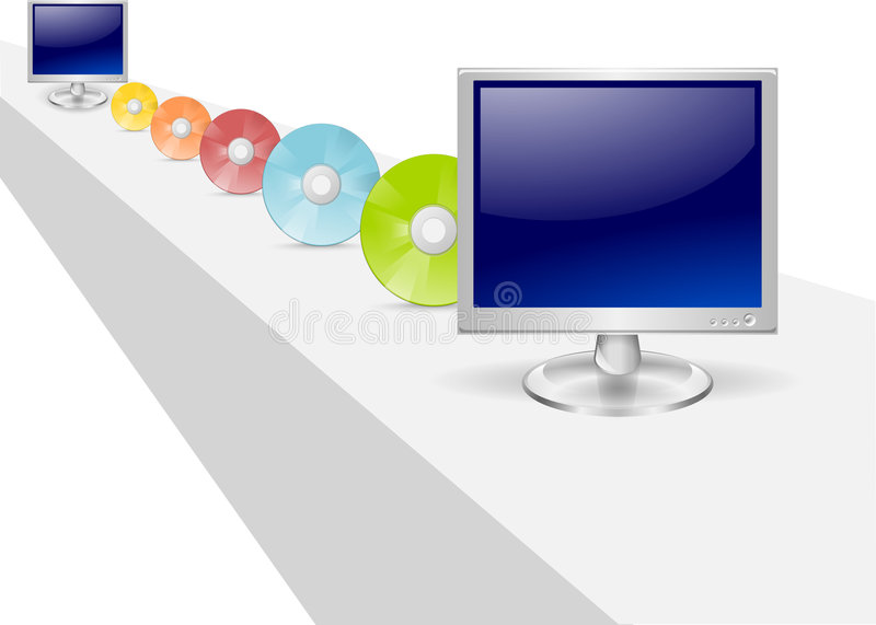 Illustration of Data Transfer. A line of colorful compact data disks provide a unique and creative symbolic illustration of data transfer between two computers stock illustration