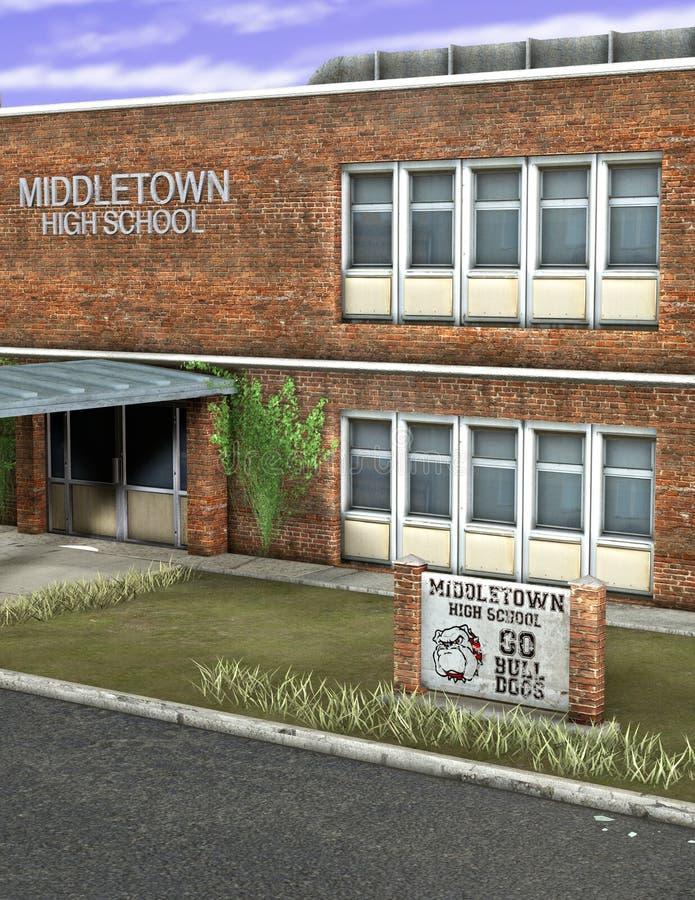 Illustration de bâtiment de lycée illustration libre de droits