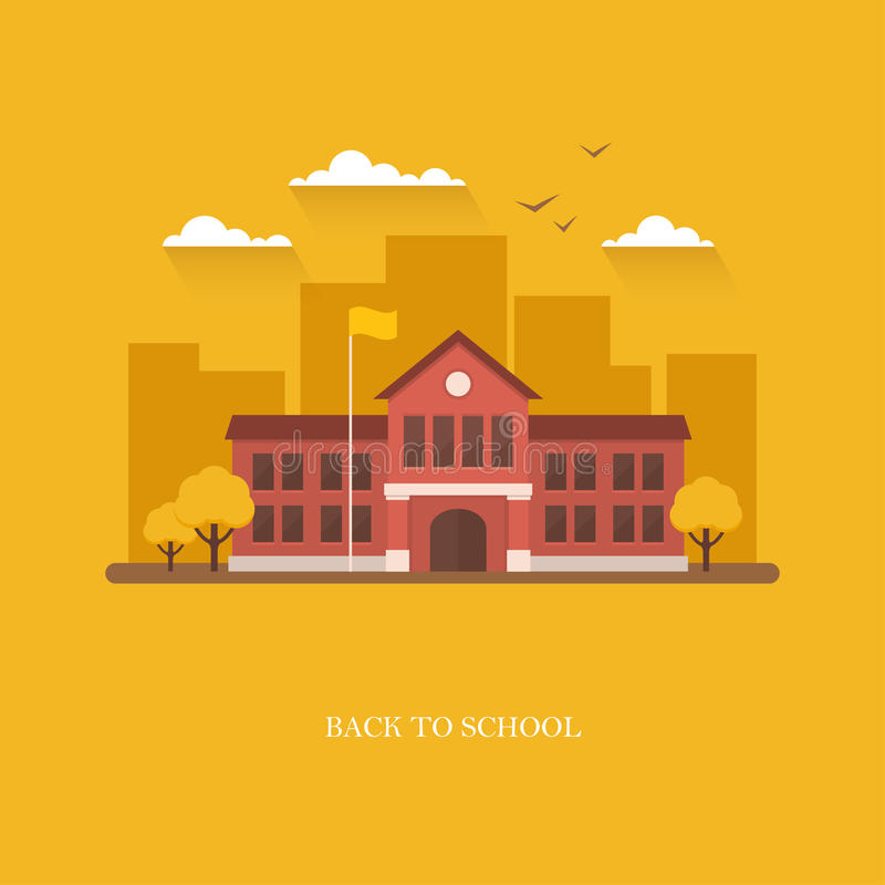 Illustration de bâtiment scolaire sur le fond orange illustration stock