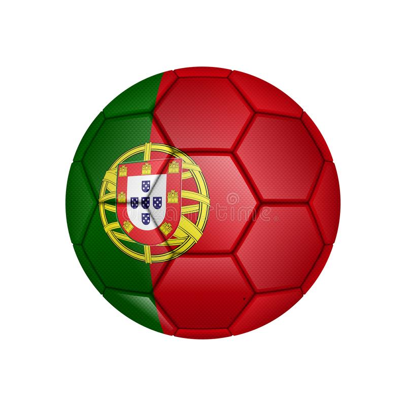 illustration de ballon de football réaliste peinte dans le drapeau national du Portugal pour les apps mobiles de concept et de We illustration stock