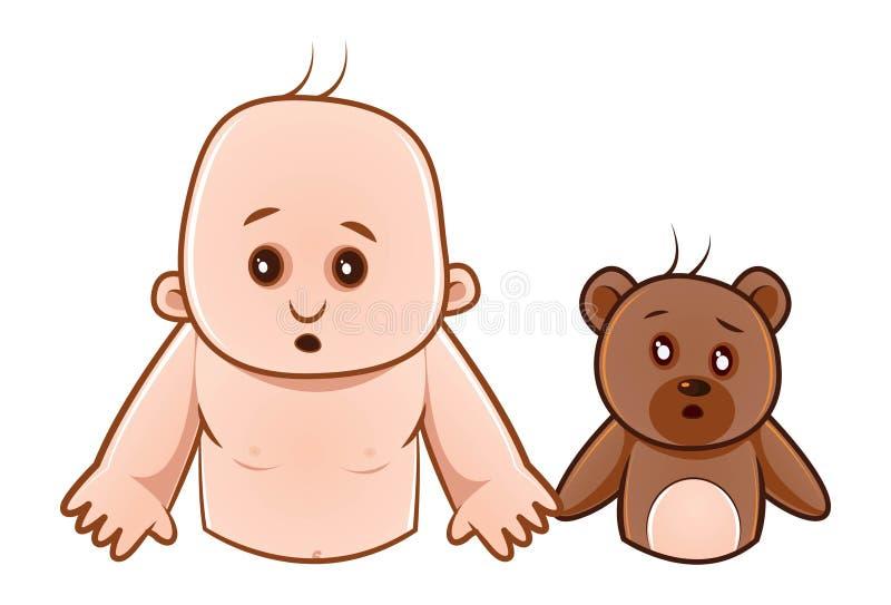 Illustration de bande dessinée de bébé et de nounours mignons illustration de vecteur