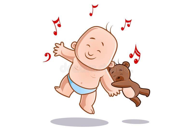 Illustration de bande dessinée de bébé et de nounours mignons illustration stock
