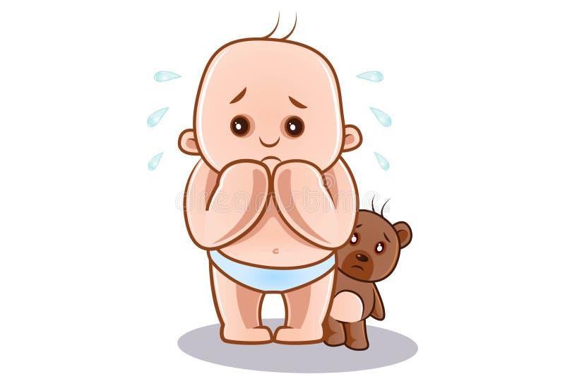 Illustration de bande dessinée de bébé et de nounours mignons illustration libre de droits