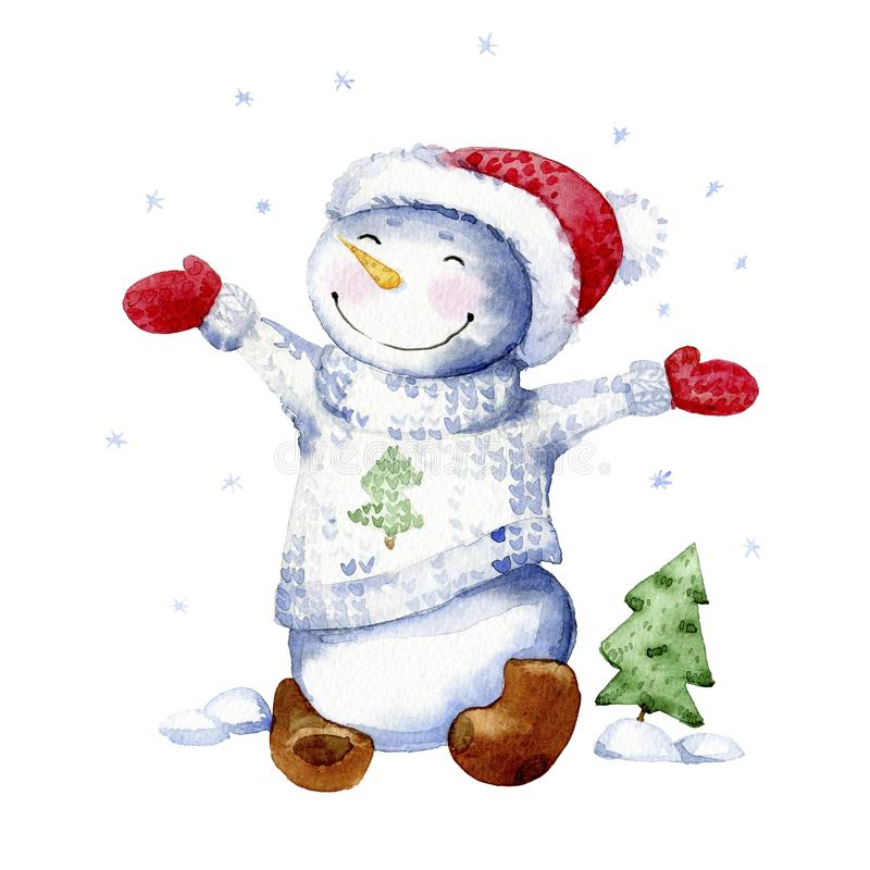 Illustration de bande dessinée d'aquarelle Le bonhomme de neige heureux se réjouit dans la première neige illustration libre de droits