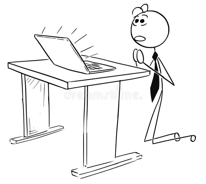 Illustration de bande dessinée d'homme d'affaires Praying devant les élém. illustration de vecteur
