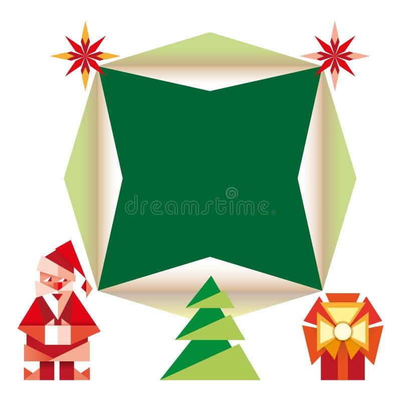 Illustration de bande dessinée d'icônes de Noël d'origami illustration de vecteur