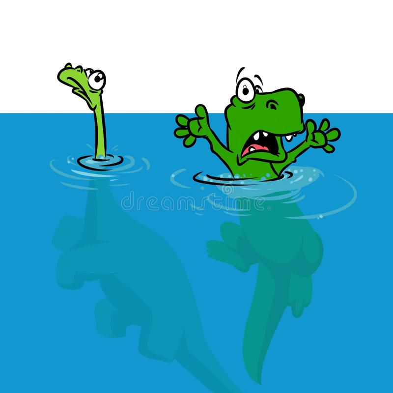 Illustration de bande dessinée d'inondation d'hypothèse de dinosaure illustration stock
