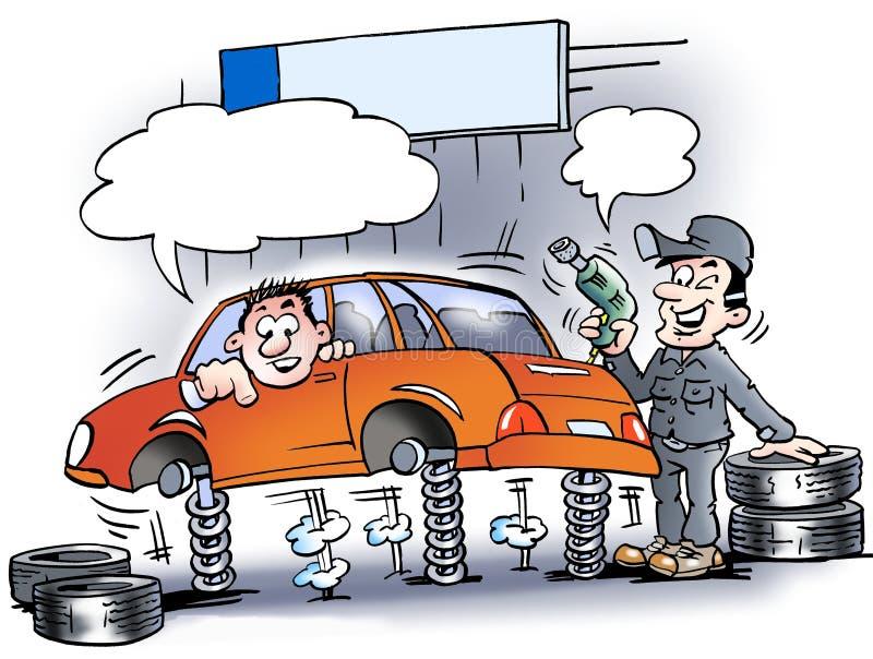 Illustration de bande dessinée d'un mécanicien qui examinant les amortisseurs illustration stock