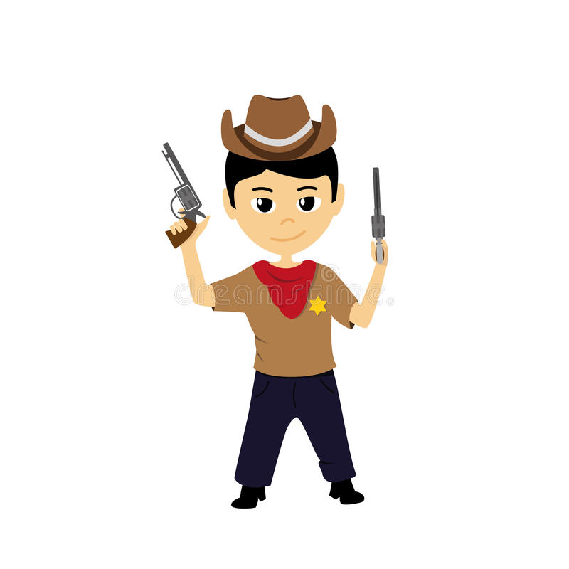 Illustration de bande dessinée d'un petit cowboy illustration de vecteur