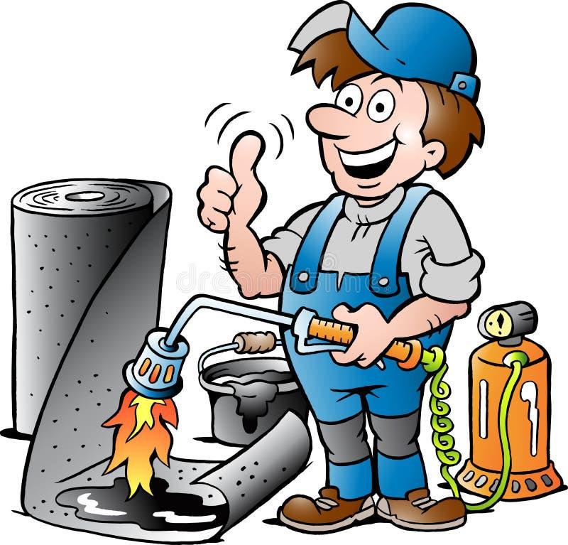 Illustration de bande dessinée d'un Roofer travaillant heureux renonçant au pouce illustration stock