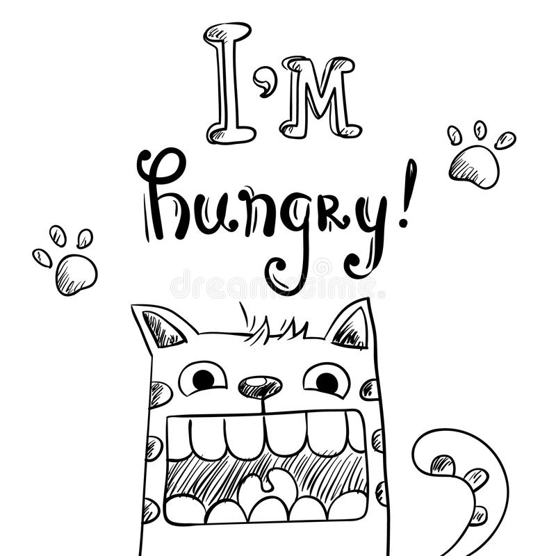 Illustration de bande dessinée de chat affamé avec la bouche énorme illustration libre de droits
