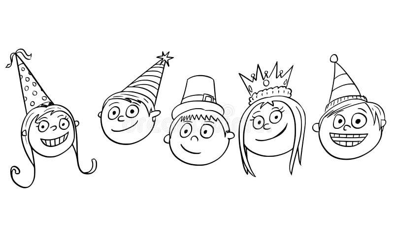 Illustration de bande dessinée de cinq enfants d'enfants avec des chapeaux de partie illustration libre de droits