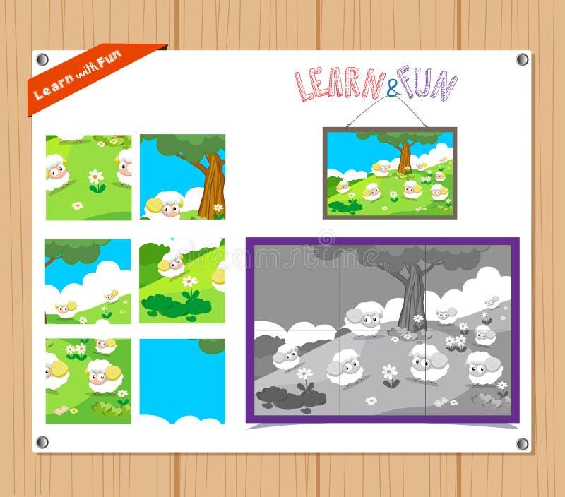 Illustration de bande dessinée de jeu de casse-tête d'éducation pour les enfants préscolaires avec des animaux de ferme illustration libre de droits