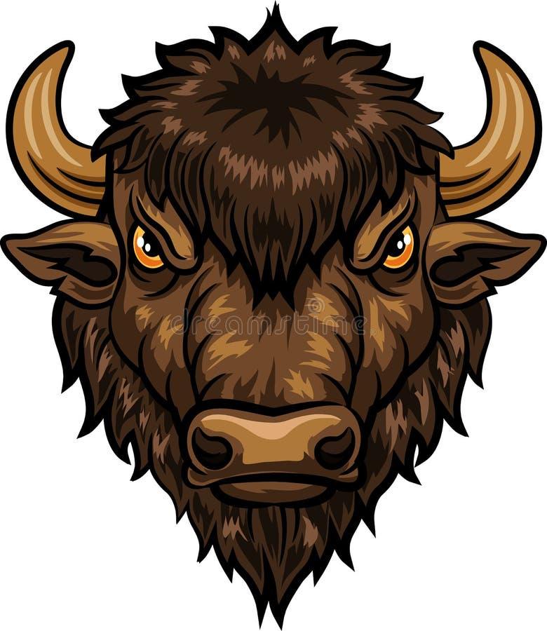 Illustration de bande dessinée de la mascotte principale de bison illustration de vecteur