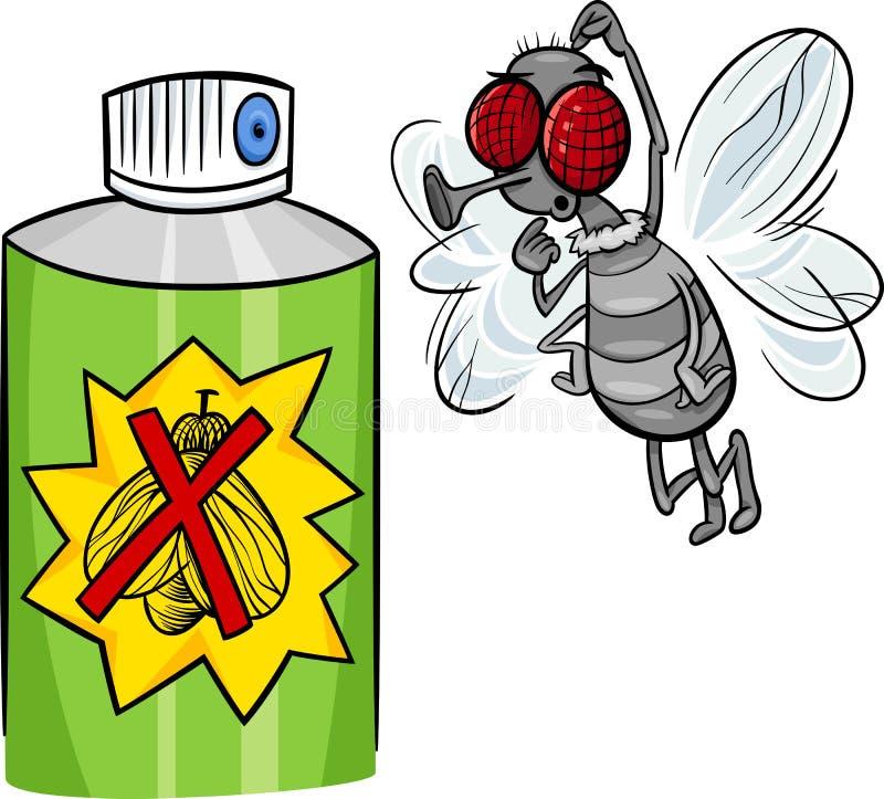 Illustration de bande dessinée de mouche et de spray anti-insectes illustration de vecteur