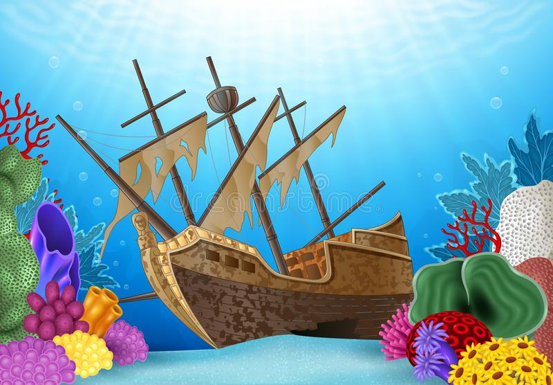 Illustration de bande dessinée de naufrage sur l'océan illustration stock