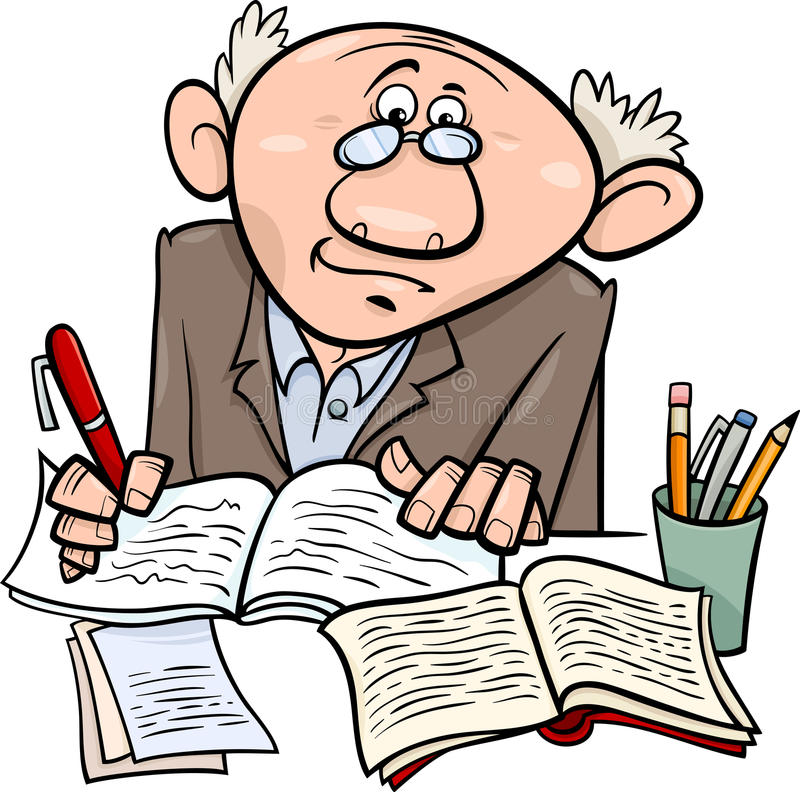 Illustration de bande dessinée de professeur ou d'auteur illustration de vecteur