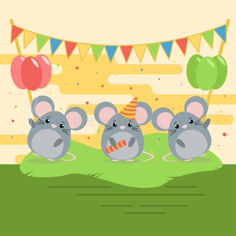 Illustration de bande dessinée de trois mouses mignons avec des ballons et de drapeaux sur l'herbe verte illustration libre de droits