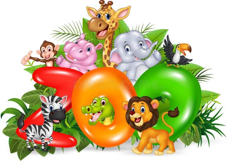 Illustration de bande dessinée de zoo de Word avec l'animal sauvage de bande dessinée illustration stock