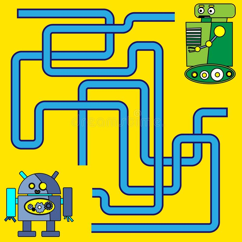 Illustration de bande dessinée des chemins ou du Maze Puzzle Activity Game Enfants apprenant la collection de jeux illustration stock