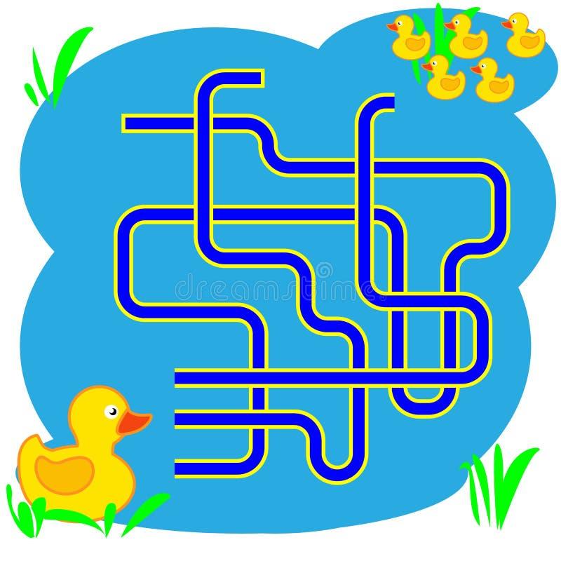 Illustration de bande dessinée des chemins ou du Maze Puzzle Activity Game Enfants apprenant la collection de jeux illustration de vecteur