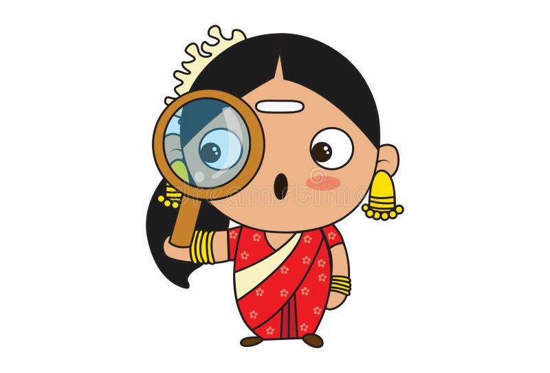 Illustration de bande dessinée de femme indienne du sud illustration stock