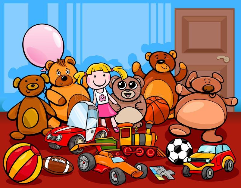 Illustration de bande dessinée de groupe de jouets illustration libre de droits