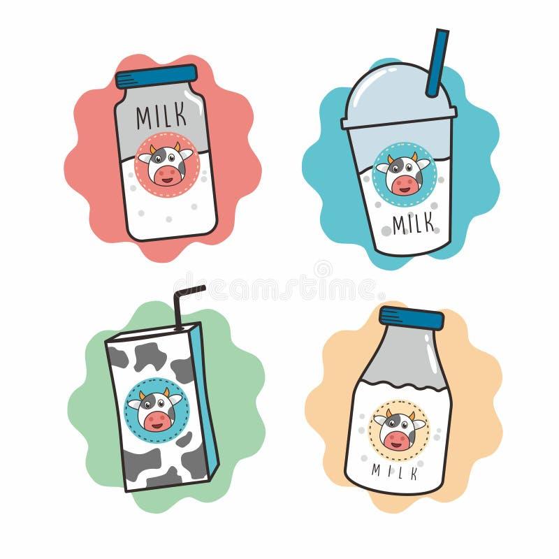 Illustration de bande dessinée de lait dans l'emballage différent illustration stock