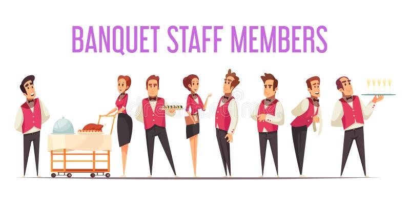 Illustration de bande dessinée de membres du personnel de banquet illustration stock